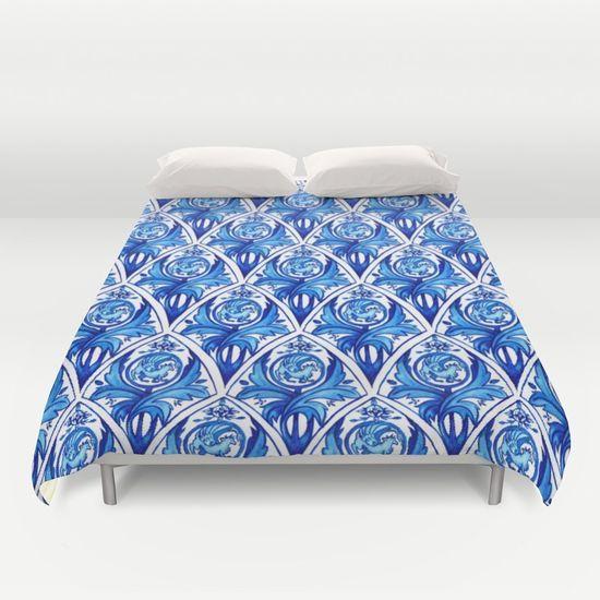 Renaissance gryphon seamless pattern Duvet Cover by Erika Biro   Society6
