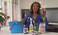 You can ditch all your chemical cleaners and replace them with these 10 products... Baking soda, white vinegar, denatured alcohol, lavender oil, lemon oil, oil of cloves, tea tree oil, unprocessed wheat bran, tea, and pantyhose. This website (LUSH HOUSE) shows videos on how to clean with these products. :)
