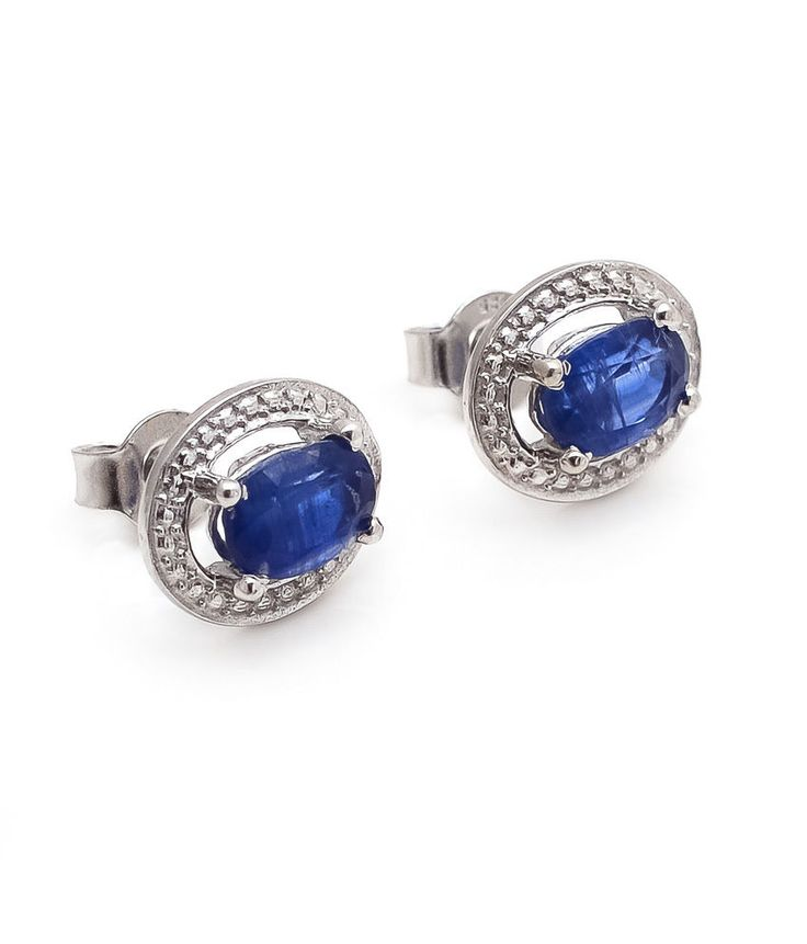 Kyanite Stud Earring Natural Gemstone Prong Set in Solid 925 Sterling Silver #Rananjay #StudEarrings