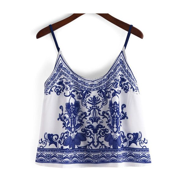 SheIn(sheinside) Spaghetti Strap Pastel Floral Print Blue Cami Top ($13) ❤ liked on Polyvore