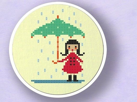 Cute Umbrella Girl. Cross Stitch PDF Pattern by andwabisabi, $4.00