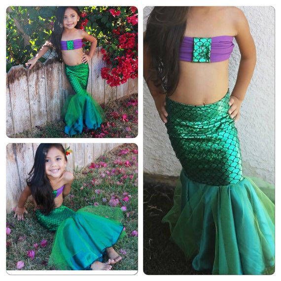 LITTLE MERMAID Full Mermaid Tail / with bottoms by MTBGBOUTIQUE