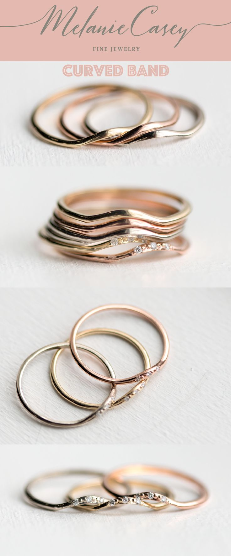 wedding ring, antique ring, vintage ring, whimsy ring, whimsical ring, dainty ring, feminine ring, elegant ring, gold ring, white diamond ring, delicate ring, handmade ring, stunning ring, stacking ring, Melanie Casey ring, perfect ring, vintage jewelry, antique ring, vintage inspired ring, antique inspired ring, fairytale ring, magical ring, handmade jewelry, jewelry made in the USA, made with love, diamond curved band, diamond band, rose gold band, curved band, wedding band