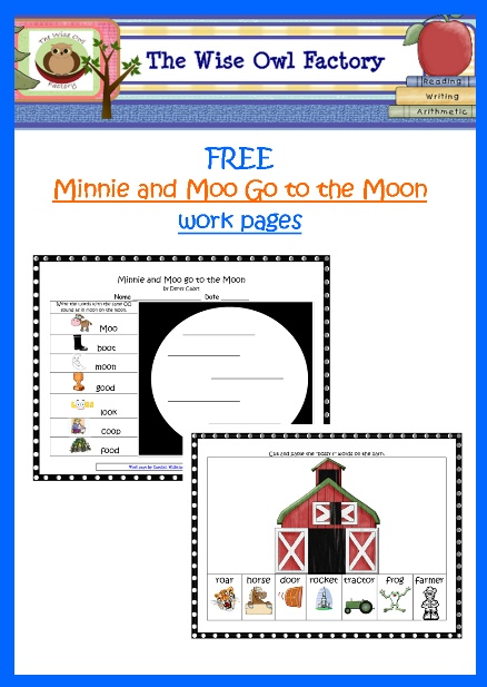 free PDF work pages are for the double oo sound as in moon, and bossy r, for MINNIE AND MOO GO TO THE MOON