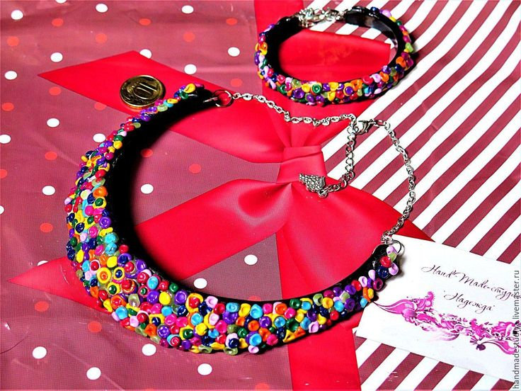 Купить Комплект украшений Яркий - комбинированный, комплект украшений, браслет на руку, колье, украшения