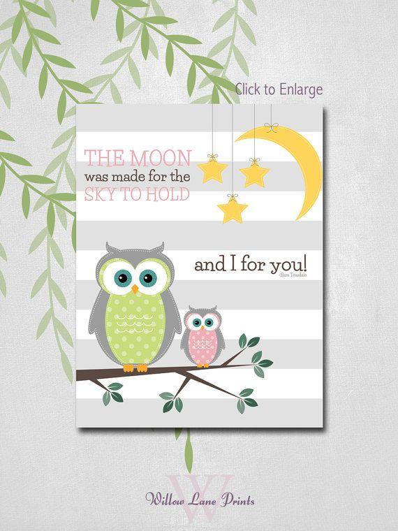 GIRLS Kids Owl Wall Decor, Owl baby nursery art, baby girl, Nursery art with owl, mommy and baby owl prints, Kids room wall art
