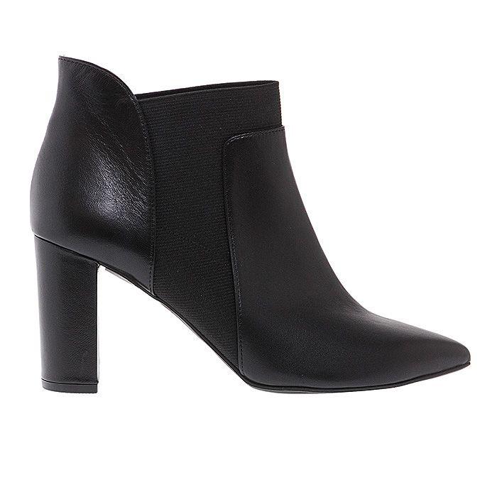 75401-BLACK LEATHER #mourtzi #booties #ankleboots #officelook  www.mourtzi.com