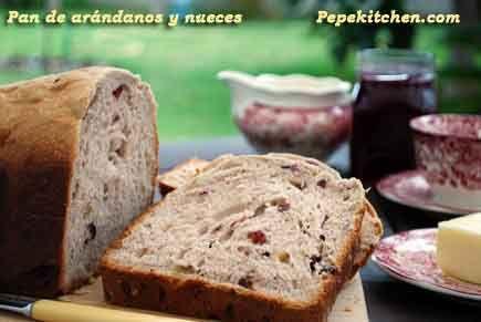 Pan de Arándanos y Nueces. Receta para panificadora