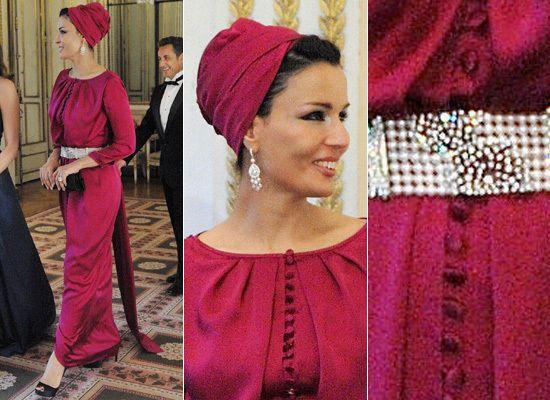 Sheikha Mozah bint Nasser Al Missned of Qatar. head wrap | turban