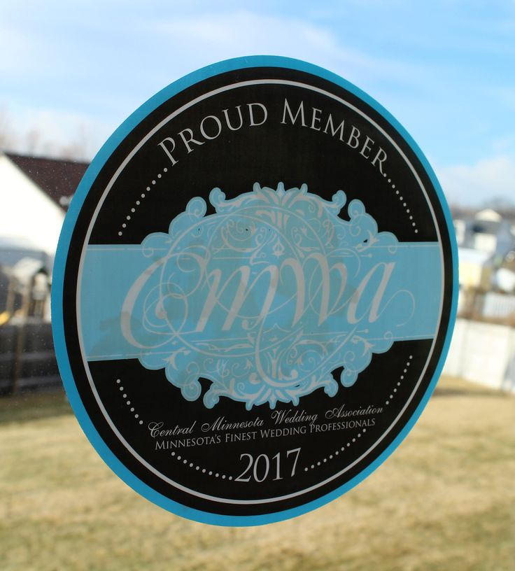 Proud Member window clings printed by Rengel Printing Company for the Central Minnesota Wedding Association.