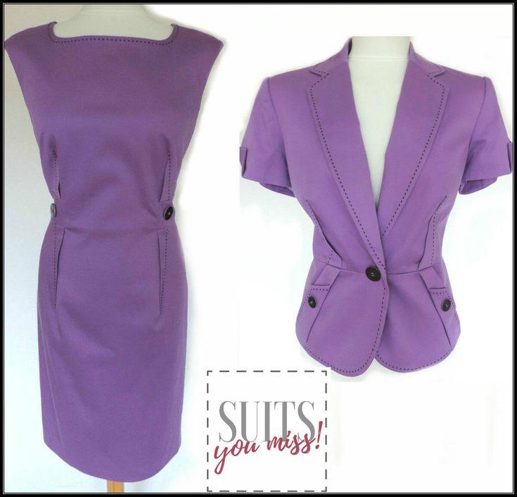 LADIES WOMENS M&S PURPLE PENCIL DRESS & JACKET SUIT SUMMER BUSINESS UK 12/14 NWT