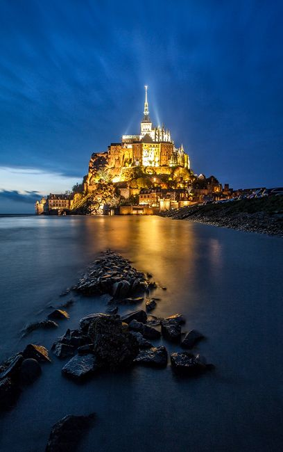 Night falling over Mont Saint-Michel, Normandy, France.