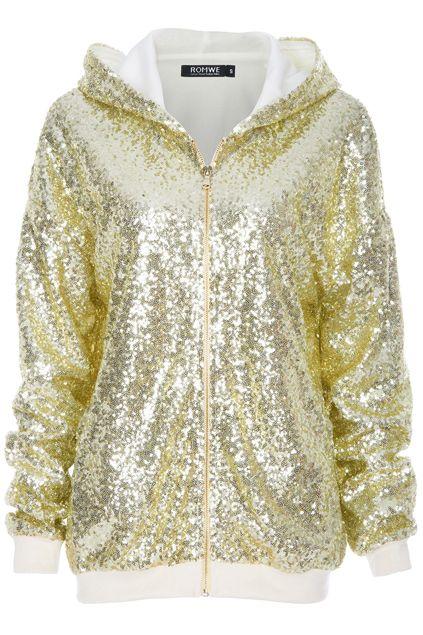 Light Golden Sequins Embellished #Coat #Romwe #wish