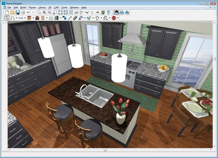 Home Design Free Online 3d Room Design For A Small Kitchen With Brown Island With