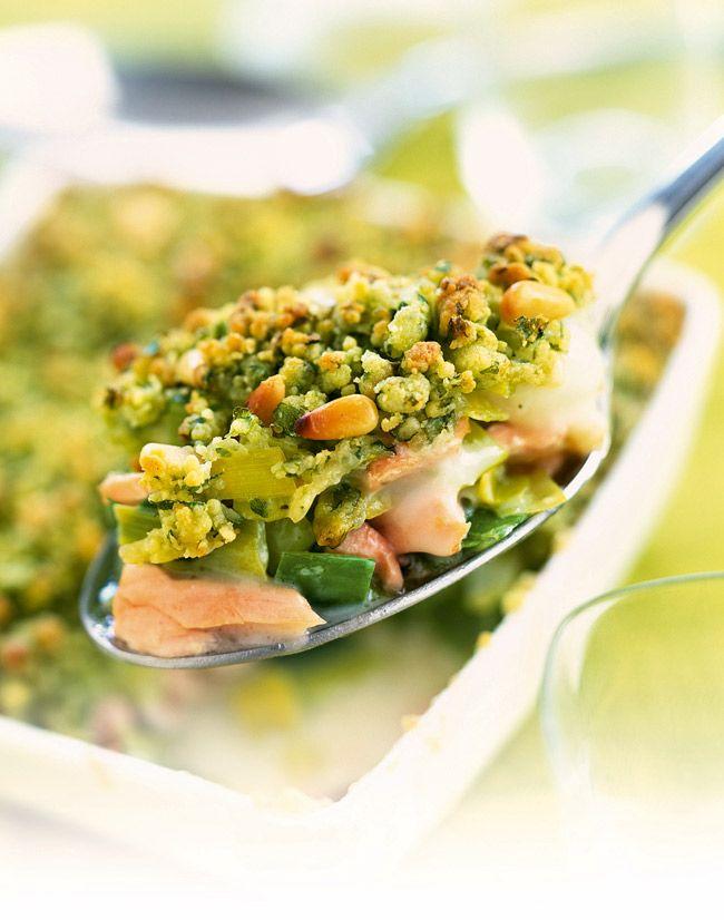Recette facile : crumble de saumon aux poireaux - Gourmand : la recette de cuisine, facile et rapide, par Vie Pratique