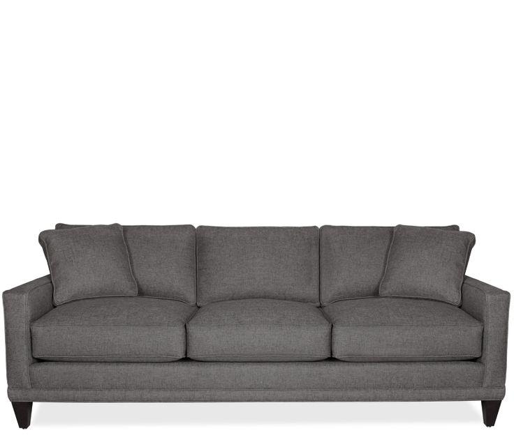Modern Sectional Sofas Boston Interiors Oslo Sofa woven heathered slate gray fabric self toss pillows and dark espresso legs