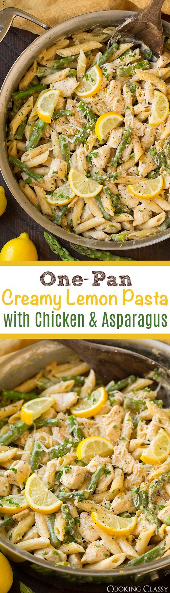 One-Pan Creamy Lemon Pasta with Chicken and Asparagus - so easy so flavorful…