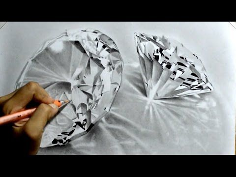Graphite Realistic Drawing of Diamonds - YouTube