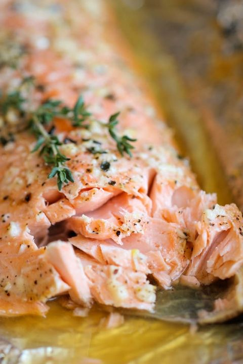 Honey Salmon in Foil - A no-fuss, super easy salmon dish that's baked in foil for the most tender, most flavorful salmon ever!