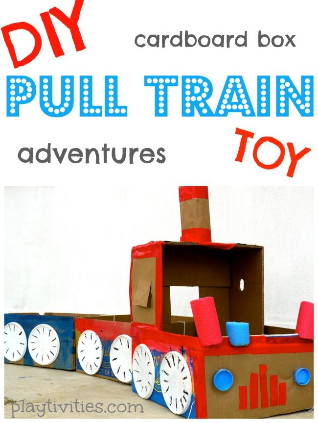 Cardboard Box Train craft and activities with it