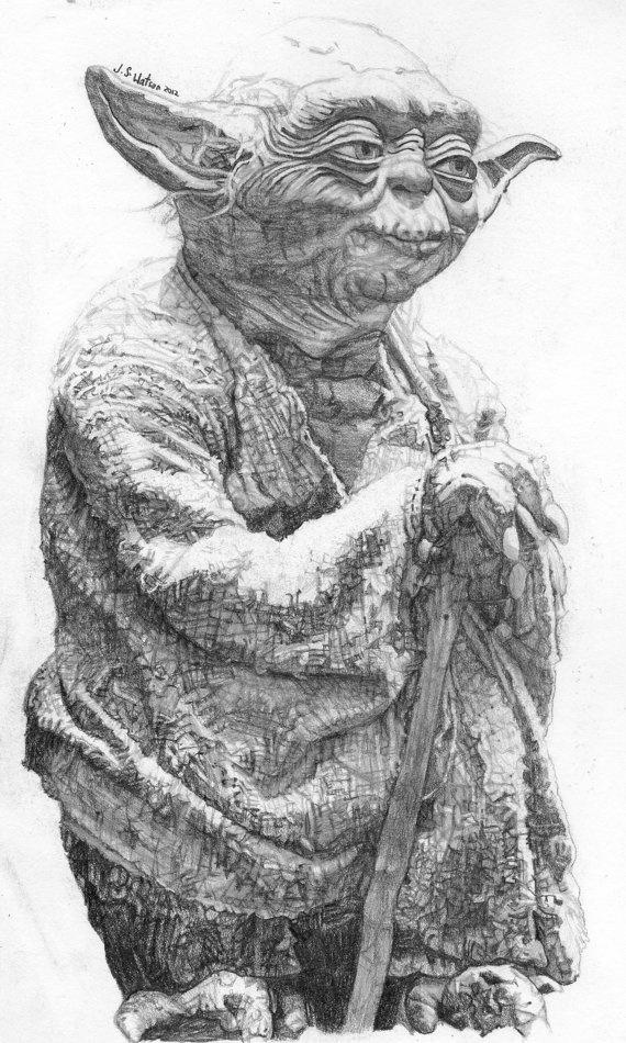Original pencil drawing of Master Jedi Yoda by Jamesdrawings, $50.00