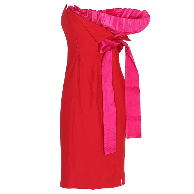 Red and Pink Gianfranco Ferré Bustier Dress from 1990s