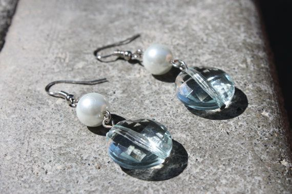 Blue and Pearl Earrings  by ForTheLoveOfColour on Etsy