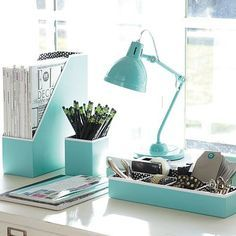 white and teal small office desk accessories - Google Search