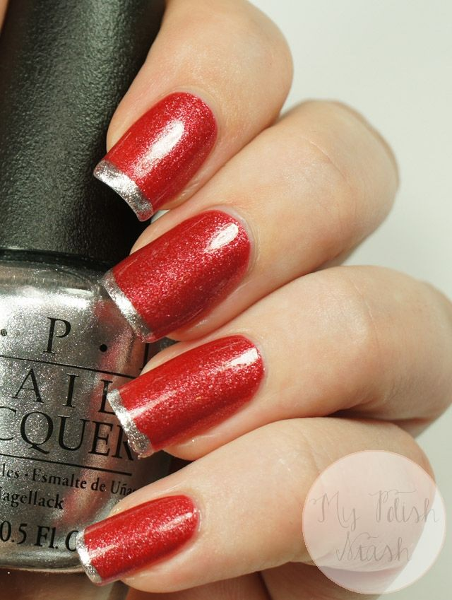 Red Nails, Silver Tips   My Polish Stash #nails #swatch #manicure #opi