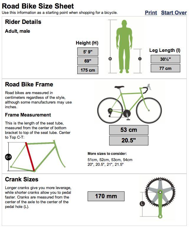 road bike size sheet | Fitness | Bike, Road Bike, Bicycle