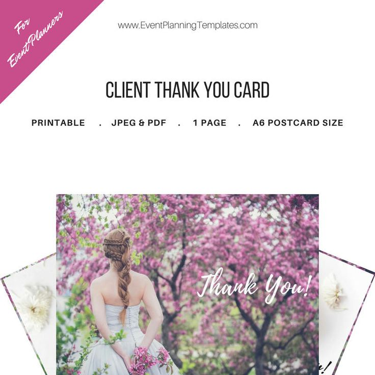 Excited to share the latest addition to my #etsy shop: Thank You Card for Clients for Event and Wedding Planners. Printable Template. JPEG and PDF Versions included. http://etsy.me/2Cba6Fa #everythingelse #graphicdesign #purple #white #eventplanner #weddingplanner #eve