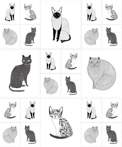 "Catnip - Cat Patch White - 36"" Panel"