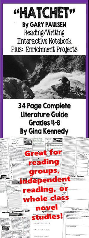 """No-Prep """"Hatchet"""" standards based interactive notebook literature guide with follow-up """"Hatchet"""" reading response questions for every chapter. As well as thought provoking questions for every chapter you will find vocabulary, activities and enrichment projects! Teacher friendly engaging novel study to use with this award winning novel by Gary Paulsen in your classroom while encouraging critical reading skills. $"""