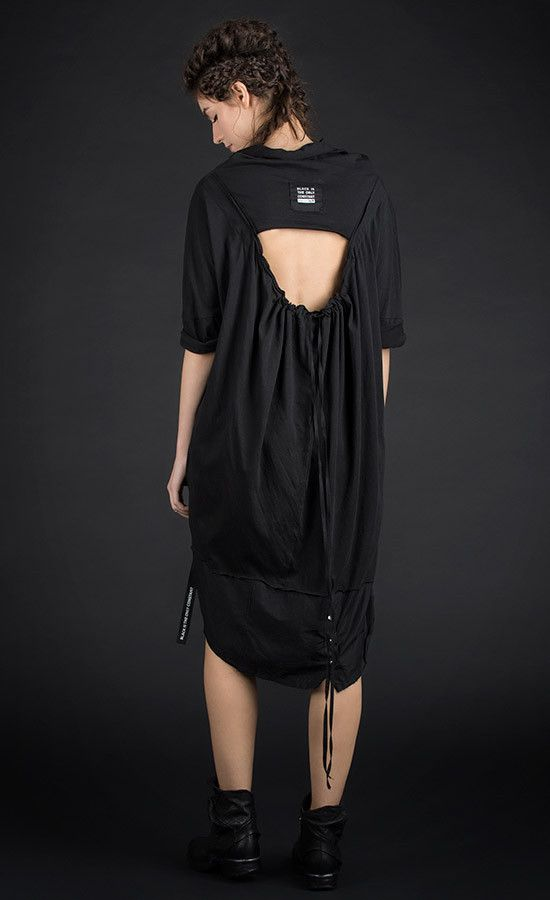DORESS - open back oversized black tunic / Also available in grey old dye colour variant | Studio B3 |