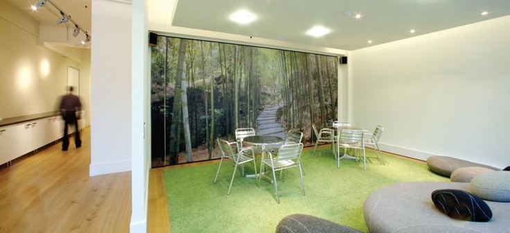 a meeting area transformed with a digital forest print