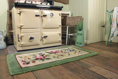 Aga and flowery vintage rug