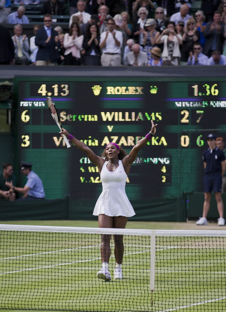 Serena Williams celebrates her victory over No. 2 seed Victoria Azarenka during the 2012 Wimbledon Championships.  Serena will play for the Washington Kastles during the 2012 World TeamTennis season.
