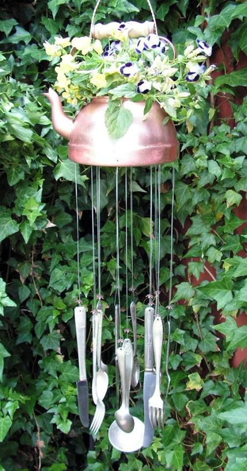 Use a tea pot to make a wind chime.