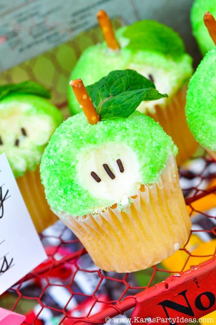 APPLE CUPCAKES at a Back to School Party via Kara's Party Ideas - APPLE CUPCAKE HOW-TO here: http://www.karaspartyideas.com/2009/06/apple-cupcakes-recipe.html