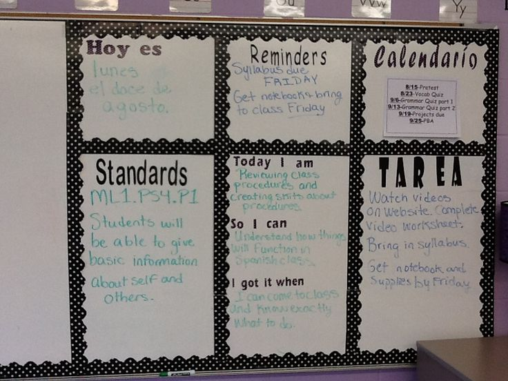 My Spanish classroom-homework board. so perfect to post the standards for kids to see