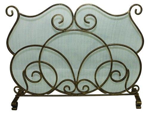 Transitional Style Single Panel Fireplace Screen