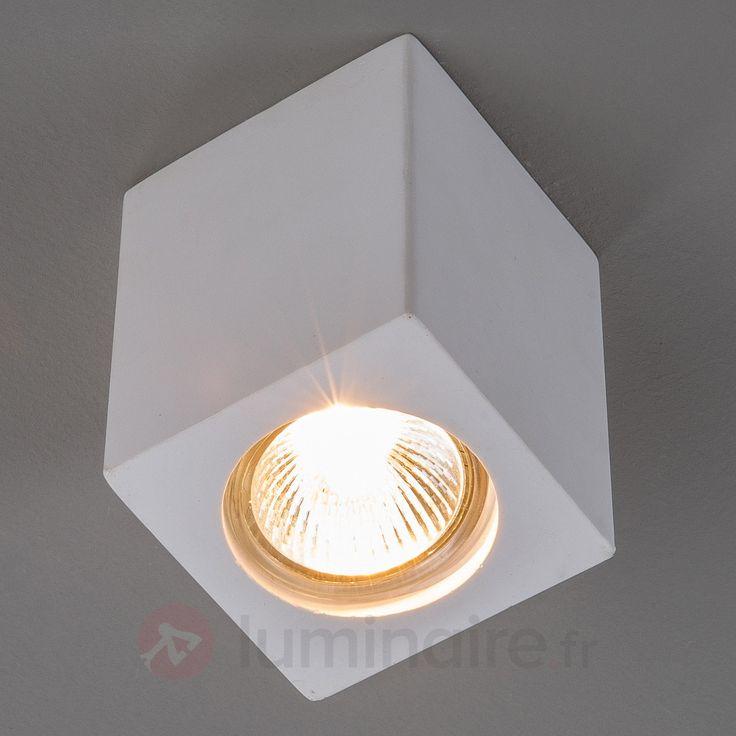 Spot en plâtre Anelie pour lampe halogène GU10, référence 9613029 - Lampes et luminaires DIY en plâtre à peindre chez Luminaire.fr !9613029