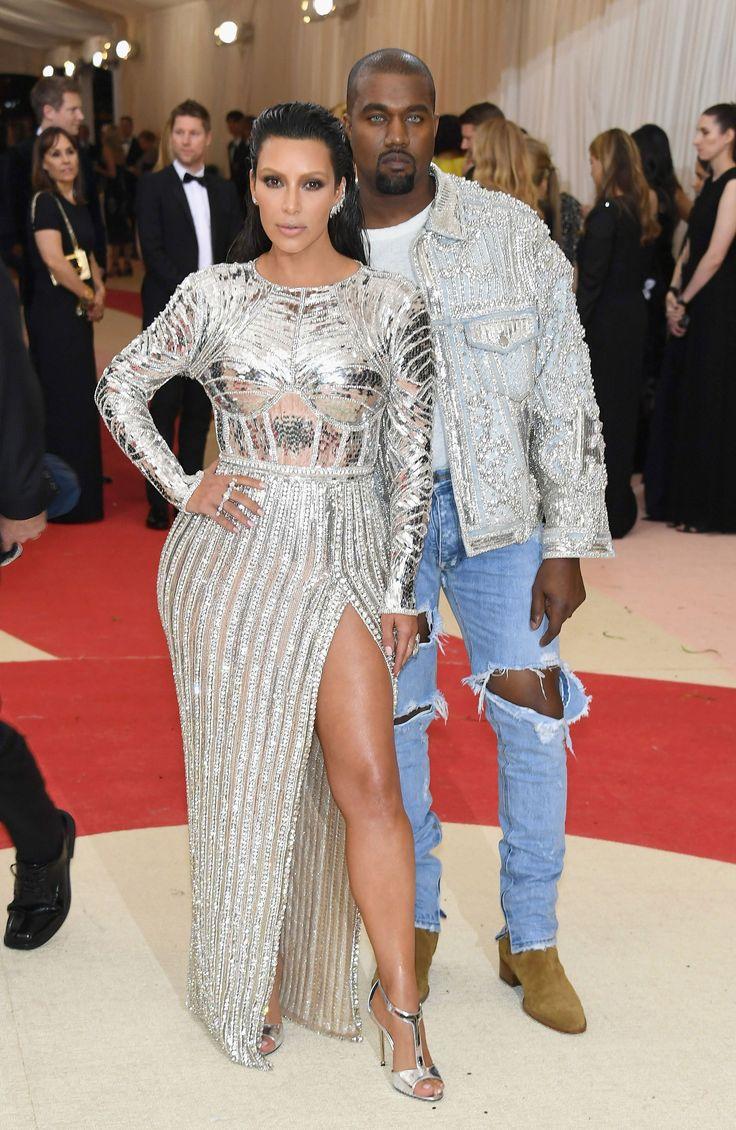 Kim Kardashian West in a Balmain dress and Lorraine Schwartz jewelry and Kanye West in Fear of God