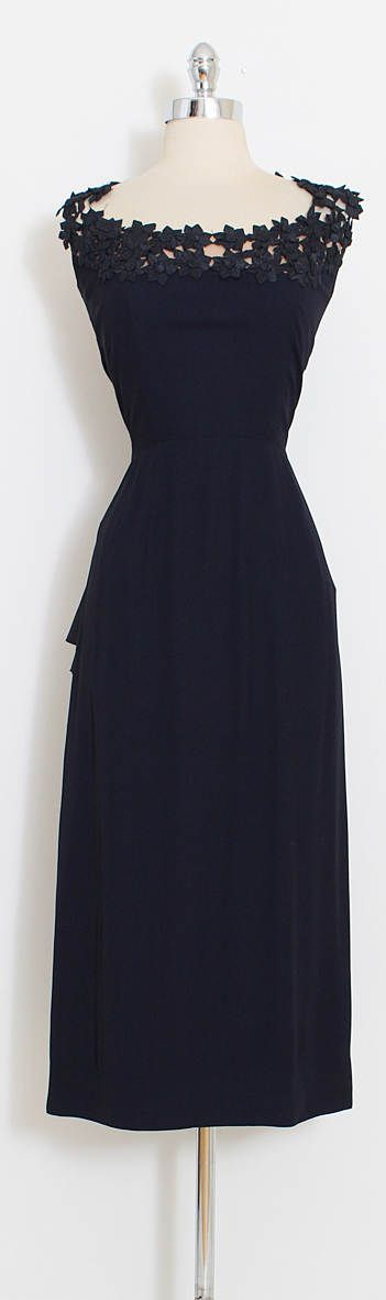 ➳ vintage 1950s dress * black rayon crepe * gorgeous woven flower neckline * nude illusion backing * back acetate sash * peplum waist * metal side zipper * no label but very reminiscent of Chapman and Hunt condition   excellent fits like medium length 49 bodice length 17 bust 38-40 waist 28 ➳ shop http://www.etsy.com/shop/millstreetvintage?ref=si_shop ➳ shop policies http://www.etsy.com/shop/millstreetvintage/policy twitter   MillStVin...