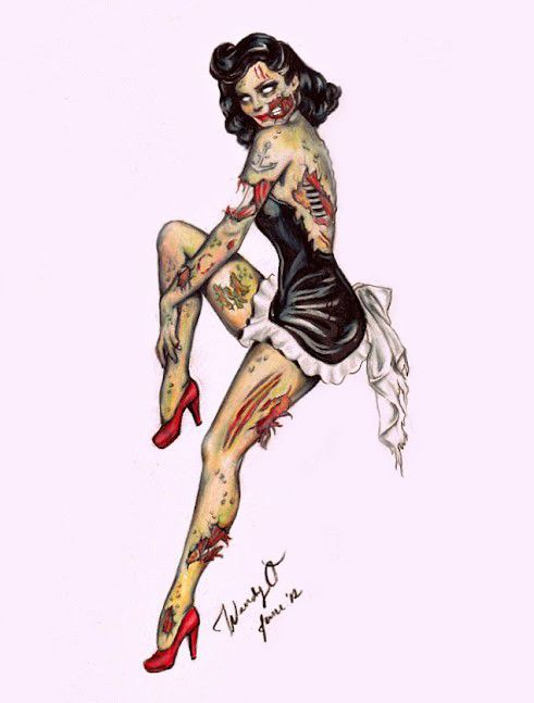 Normal people want hot pinup girl tattoos.  Me? No, I want a ZOMBIE pinup girl tattoo.   I'm cool.