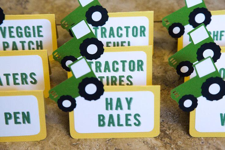 John Deere Tractor Baby Shower Food Tents - Boy or Girl by lovetiesbymeggin on Etsy https://www.etsy.com/listing/248159086/john-deere-tractor-baby-shower-food