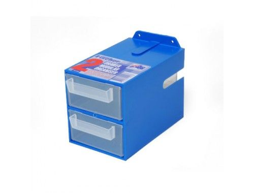 2 drawer organiser blue can be fitted onto Stor-Pak Louvre Panel or screwed directly onto a wall. #organiser #plasticStorage #storageandtoolbox