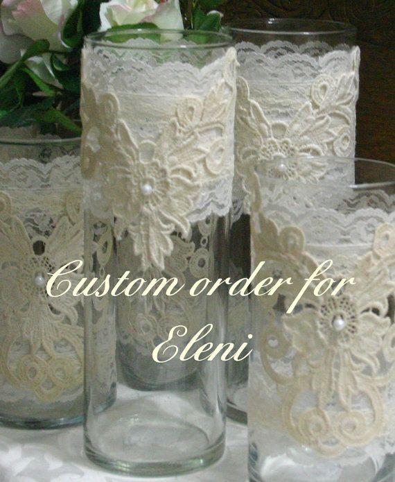 Vintage lace flower wedding vases, wedding centerpiece, Wedding vases for flowers or candles via Etsy