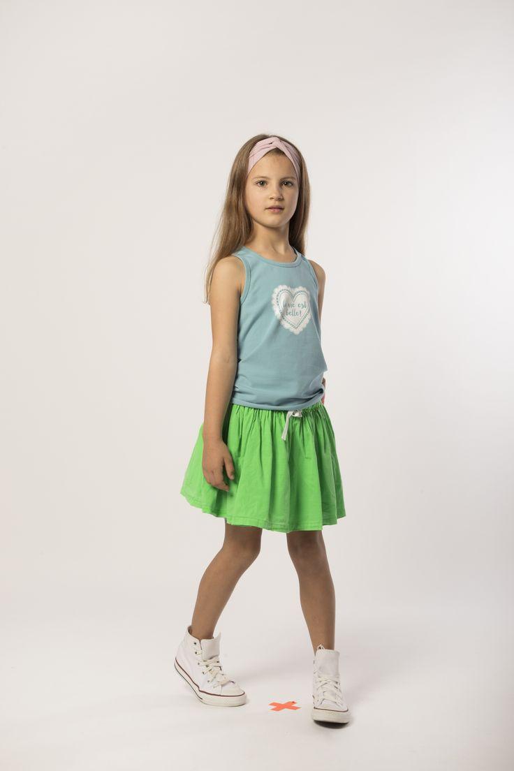 Headband - Twist: Lilac Top - Racer: Tide Skirt - Mini: Neon Green