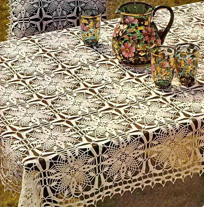 Tablecloth And Pillow Cover - Crochet Tablecloth Free Pattern